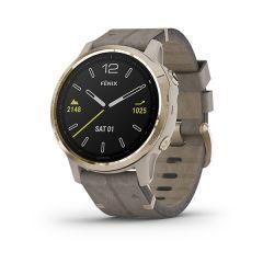 Garmin - Fenix 6S 藍寶石頂級多功能運動 GPS智能手錶 (英文) (淺金錶圈配灰色皮革錶帶) GM_FENIX6SI_GGY