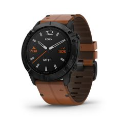 Garmin - Fenix 6X 藍寶石頂級多功能運動 GPS智能手錶 (繁中/簡中/英文) (黑色DLC錶圈配棕色皮革錶帶) GM_FENIX6XC_BKL