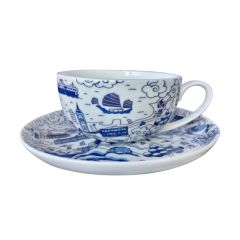 Faux - Hong Kong Willow Pattern Cup And Saucer HKWPCAS
