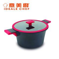 意美廚 - Distinct 鋼化鑄鋁非凡系列  4.4公升易潔雙耳煲玻璃蓋 黑色 (IC15224S) IC15224S