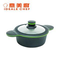 意美廚 - CLOVER 4.3公升鋼化鑄鋁易潔雙耳煲連玻璃蓋 (IC15524C) IC15524C