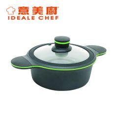 意美廚 - CLOVER 6公升鋼化鑄鋁易潔雙耳煲連玻璃蓋 (IC15528C) IC15528C