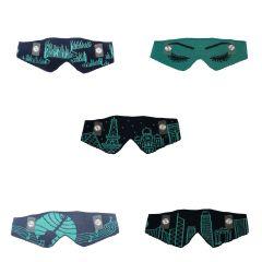 暖之織 - 智能發熱織暖眼罩 真絲棉混紡 (綠色圖案) KWE-Silk-grecolor