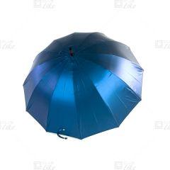梁蘇記 - 木芯鋼骨手開長雨傘(十二骨) - 閃藍面黑底