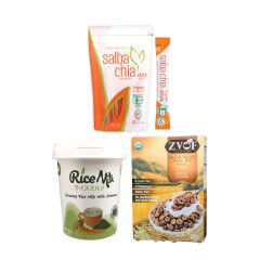 Salba Chia & ZVOF & L.I.F.E. - 營養早餐套裝•有機超營奇亞籽 - 香糙米脆穀物(可可味) - 有機胚芽糙米綠茶米奶 - 即食•美味 LIFE_BD-CSG