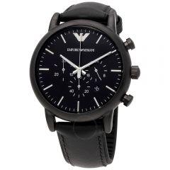 Emporio Armani Luigi 男士黑色真皮時計腕錶 AR1970