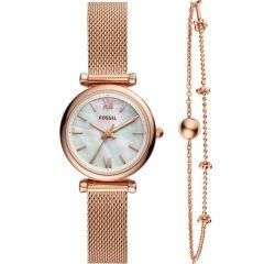 Fossil - Carlie Mini 玫瑰金鋼帶女士手錶 ES4443SET