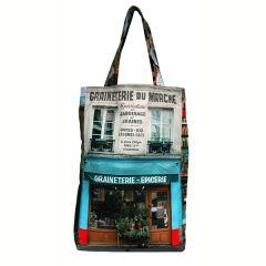 MBJPARECAGE5 Maron Bouillie 巴黎傳統老店圖案手提袋 (大) - Graineterie 盆栽食品雜貨店