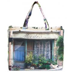 MBJPRCP08 Maron Bouillie 法國南部普羅旺斯風景圖案手提袋 (小) - 紫色
