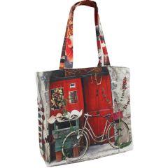 MBJPRRE06 Maron Bouillie 法國南部普羅旺斯風景圖案手提袋 (雙面) - 紅色