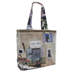 MBJPRRE08 Maron Bouillie 法國南部普羅旺斯風景圖案手提袋 (雙面) - 紫色