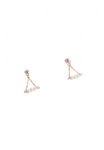 Sdori 極細水珍珠純銀耳環 - 玫瑰金