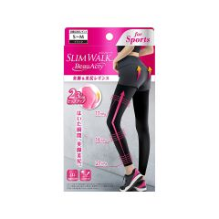Slimwalk Compression Legging for Sports: Sweat-absorbent and quick-drying (Black)[Made in Japan] S-M