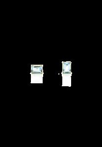 Sdori 天空藍托帕石長方石純銀耳環 - 18K金