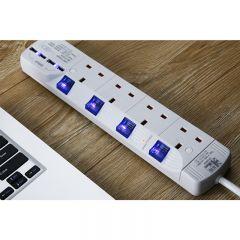 Ukase - 4 Outlets Power Socket with 4 USB Ports - SU884U4 (White) SU884U4_White