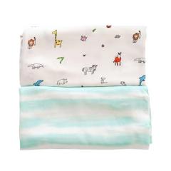 Tiny Twinkle - Swaddle Blanket 2pcs Set - Ocean Stripe/Zool Animal TT-1130