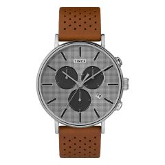 Timex Fairfield Chronograph Supernova™ 41mm Leather Strap Watch_Brown/Silver-Tone TW2R79900