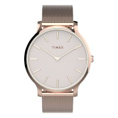Timex TRANSCEND™ 38毫米不銹鋼網狀錶帶-玫瑰金/粉紅色 TW2T73900