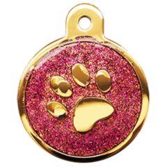 Therese Pet Accessories 金色大圓腳印牌紫玫瑰滴膠閃粉 VTSD-010-502