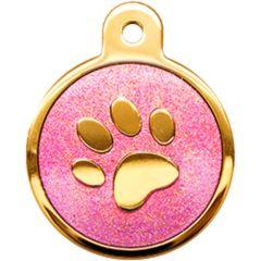 Therese Pet Accessories 金色小圓腳印牌紫水晶滴膠閃粉 VTSD-013-212