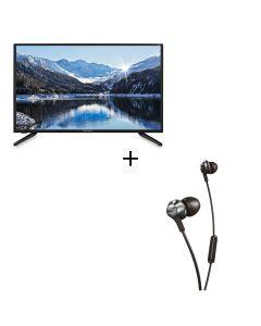 "TOPCONPro 32"" LED FHD DVR Smart TV 32MP1 + Philips - PRO6105BK Earphones 32MP1gift"