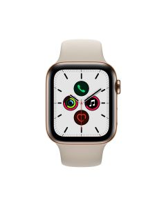 APPLE WATCH SERIES 5 (GPS + 流 動 網 絡) 44MM 金 色 不 鏽 鋼 錶 殼 配 石 色 運 動 錶 帶