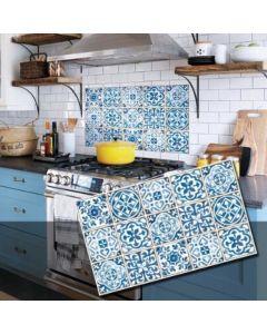 InsKitchen Sheet - 浴室及廚房多功能牆紙貼 (藍色拉利瑪圖騰) 8804219001108