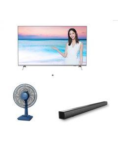"Philips 58PUD6654 TV + Philips Sound Bar + Panasonic - F-301CH Desk Fan (30cm/12"")"