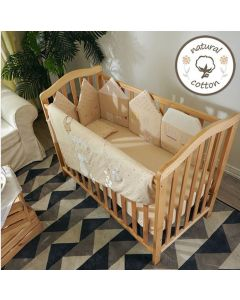 0/3 Baby - Natural coloured cotton bedding Set 16pcs ( Loving Heart Party ) 嬰兒床上用品16件套裝- 紅心茶會