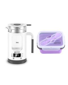 Gemini Mini Multi-function Healthy Kettle + 0.7L Food Grade Silicone Multi-Purpose Foldable Lunchbox (Purple) GMK600plusGB10V
