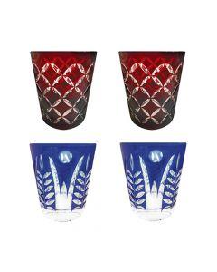 Faux - Handmade Cut Glass Tumblers Set Of 4 - 2 x Garnet Monogram + 2 x Cobalt Fern GLS-MNG-FN-4