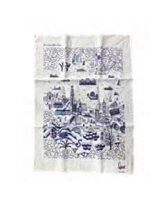 Hong Kong Willow Pattern Tea Towel HKWPTT