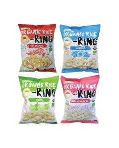 Ricelicious - 最美味大獎-有機低糖香糙米烘焙脆米小食零食 - 是拉差味 + 洋蔥 +岩鹽 + 椰子 LIFE_OROx4