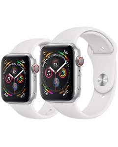 APPLE WATCH SERIES 4 GPS + CELLULAR SILVER ALUMINIUM CASE WITH WHITE SPORT BAND