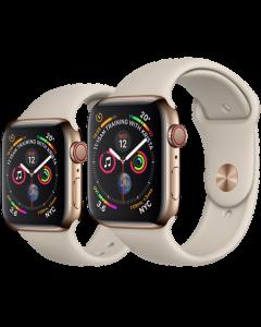 APPLE WATCH SERIES 4 (GPS + 流 動 網 絡) 金 色 不 鏽 鋼 錶 殼 配 石 色 運 動 錶 帶