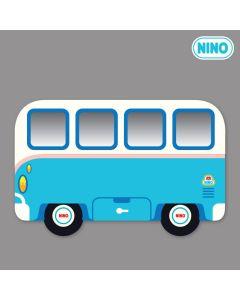 NINO韓國製兒童畫板壁貼鏡 – 藍色小巴士(側面)