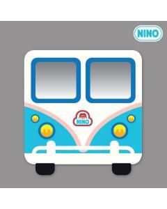 NINO韓國製兒童畫板壁貼鏡 – 藍色小巴士(正面)
