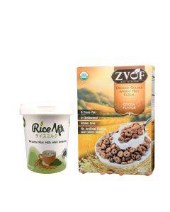 L.I.F.E. - 即食有機營養早餐套裝 - 香糙米脆穀物(可可味) 及 有機胚芽糙米綠茶米奶粉