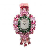 Crisathena - 吊燈系列手錶粉紅色 (水晶顏色:粉色/紫紅色/綠色) -白金 CC05-CPPFG-WG