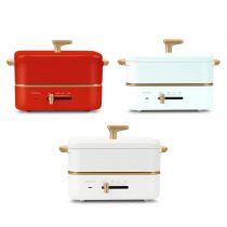 [預售] nathome - 迷你多功能料理鍋 (藍色 / 紅色 / 白色) NDG1402 (預計發貨日期: 紅色及藍色 - 約9月18日 / 白色 - 約10月2日) NDG1402_all