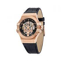 Maserati Potenza Black Leather Strap Automatic Men's Watches R8821108039 R8821108039