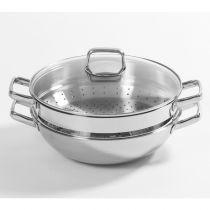 Berndes - Special 32cm Stainless Steel Wok w/lid & steamer 063997