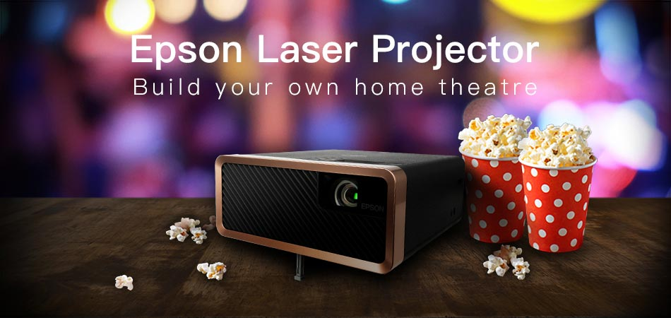 Enjoy a cinematic experience anywhere in your home with the portable EPSON Laser Projector