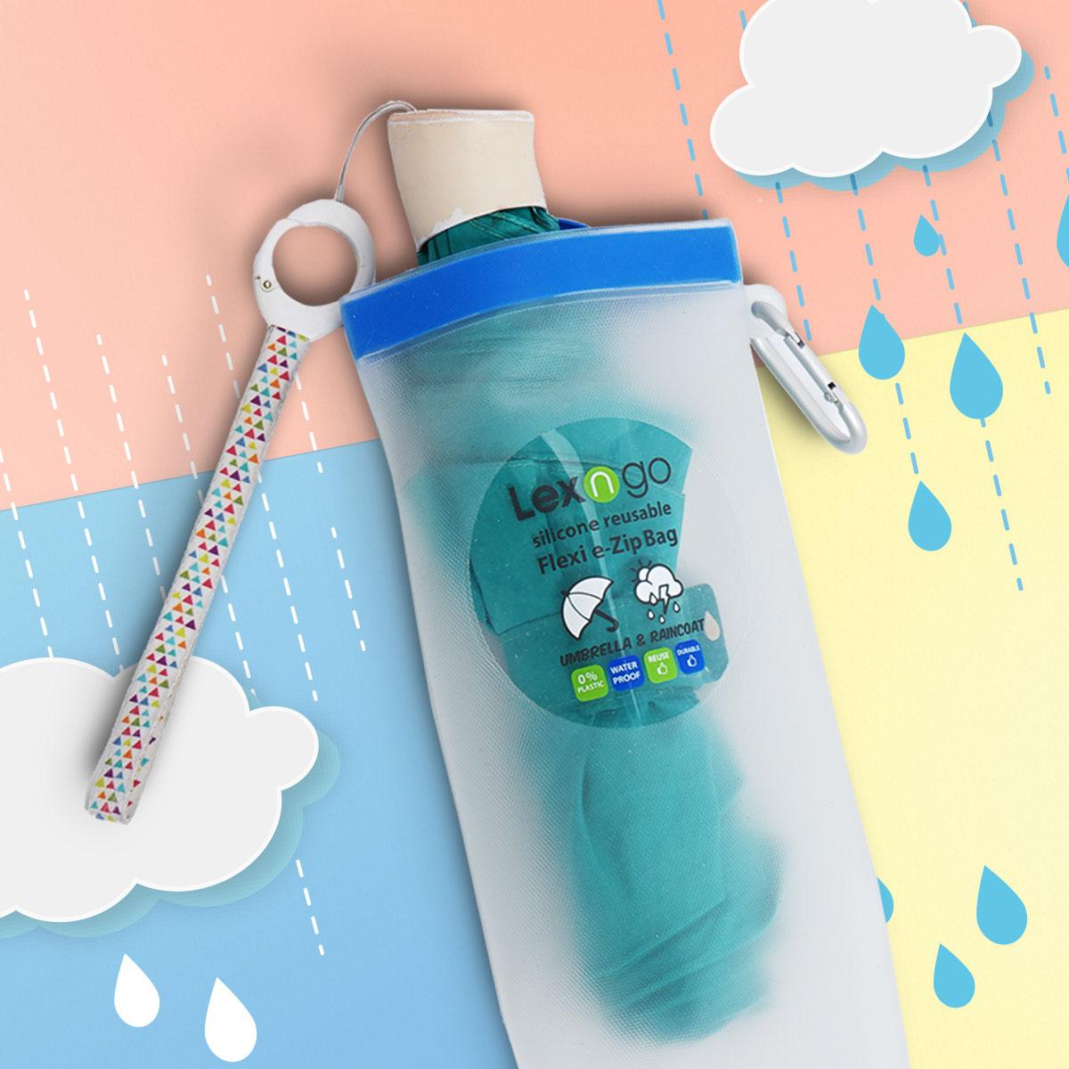 雨天小編最怕見到一地透明傘袋,有Lexngo遮袋就可以收起濕立立的遮,還能扣在袋上。